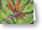 Fine Art Batik Tapestries - Textiles Greeting Cards - Bird of Paradise III Fine Art Batik Greeting Card by Kay Shaffer