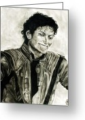 Michael Jackson Pastels Greeting Cards - Black and White Greeting Card by Andrew Ormes