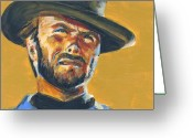 Cowboy Greeting Cards - Blondie      The Good The Bad and The Ugly Greeting Card by Buffalo Bonker