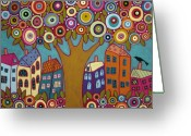 Primitive Mixed Media Greeting Cards - Blooming Tree Houses Flowers And A Bird Greeting Card by Karla Gerard