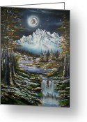 Snowy Night Greeting Cards - Blue Moon Shine Greeting Card by Tony Vegas