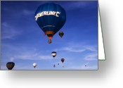 Balloon Fiesta Greeting Cards - Blue Skies Greeting Card by Angel  Tarantella