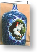 Glass Ceramics Greeting Cards - Bottle Arts 2 Greeting Card by Yuki Othsuka