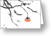 Sumi Greeting Cards - Branches with a Persimmon Greeting Card by Casey Shannon