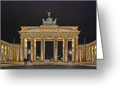 Nightshot Greeting Cards - Brandenburg Gate Greeting Card by Joachim G Pinkawa
