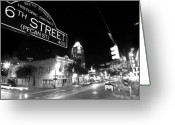 Black And White Greeting Cards - Bright Lights at Night Greeting Card by John Gusky