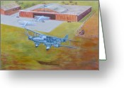 Murray Mcleod Greeting Cards - Brisbane Airport 1935 Greeting Card by Murray McLeod