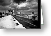 Bridge Greeting Cards - Brooklyn Bridge Greeting Card by Luca Baldassari