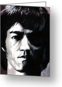 Bruce Lee Greeting Cards - Bruce Lee Portrait Greeting Card by Alban Dizdari