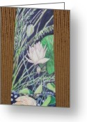 Lilies Tapestries - Textiles Greeting Cards - Bubbles Below Greeting Card by David Kelly