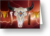 Buffalo Mixed Media Greeting Cards - Buffalo Storm Greeting Card by John Guthrie