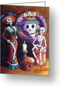 Calaveras Greeting Cards - Catrina Group Greeting Card by Candy Mayer