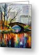 Landscapes Greeting Cards - Central Park Greeting Card by Leonid Afremov