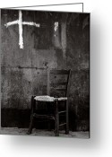 Social Comment Greeting Cards - Chair and Cross Chania Crete Greeting Card by Werner Hammerstingl