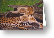 Cubs Painting Greeting Cards - Cheatah and cubs Greeting Card by Nick Gustafson