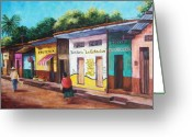 Stores Greeting Cards - Chiapas Neighborhood Greeting Card by Candy Mayer