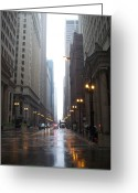 Street Lamps Greeting Cards - Chicago in the rain 2 Greeting Card by Anita Burgermeister