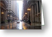 Street Lamps Greeting Cards - Chicago in the rain Greeting Card by Anita Burgermeister