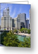 Green Water Greeting Cards - Chicago with boat Greeting Card by Paul Bartoszek