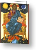 Byzantine Icon Greeting Cards - Christ Enthroned Icon  Greeting Card by Mark Dukes