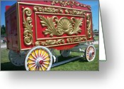 Baraboo Greeting Cards - Circus Car in Red and Gold Greeting Card by Anita Burgermeister