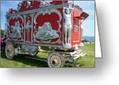 Baraboo Greeting Cards - Circus Car in Red and Silver Greeting Card by Anita Burgermeister