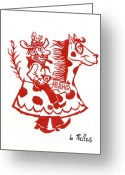 Linoleum Greeting Cards - Circus Cowboy Greeting Card by Barry Nelles Art