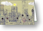 City Garden Greeting Cards - City Garden 4 Greeting Card by Andy  Mercer