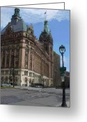 City Hall Greeting Cards - City Hall with Street Lamp Greeting Card by Anita Burgermeister
