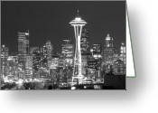 Seattle Skyline Greeting Cards - City Lights 1 Greeting Card by John Gusky