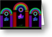 Rainbow Greeting Cards - Classical Neon Greeting Card by Charles Stuart