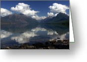 Lake Mcdonald Greeting Cards - Clouds on the Water Greeting Card by Marty Koch