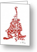 Linoleum Greeting Cards - Clown with Mouse Greeting Card by Barry Nelles Art