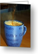 Good Morning Greeting Cards - Coffee Please Greeting Card by Cathy  Beharriell