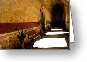 Convent Greeting Cards - Colonnade Shadows Greeting Card by Olden Mexico