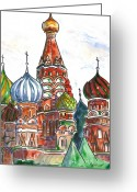 Spires Greeting Cards - Colorful Shapes in a Red Square Greeting Card by Marsha Elliott