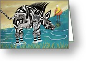 Fantasy Bird Pastels Greeting Cards - Composed Zebra Greeting Card by Sally Appleby