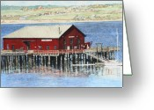 Puget Sound Greeting Cards - Coupeville Wharf Greeting Card by Perry Woodfin