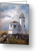 Lighthouse Greeting Cards - Couquille River Lighthouse  Bandon Ore. Greeting Card by Lynne Parker