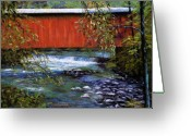 Woods Pastels Greeting Cards - Covered Bridge and  Wissahickon Creek Greeting Card by Joyce A Guariglia