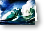 Crashing Waves Greeting Cards - Crashing Greeting Card by Steve Thorpe