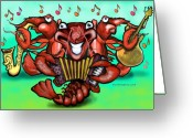 Cajun Greeting Cards - Crawfish Band Greeting Card by Kevin Middleton