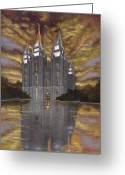 Salt Lake City Temple Painting Greeting Cards - Crowned with Glory Greeting Card by Jeff Brimley