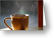 Vapor Greeting Cards - Cup A Joe Greeting Card by Peter  McIntosh