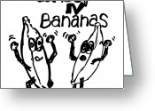 Banana Drawings Greeting Cards - Dance N Bananas Greeting Card by Karl Addison