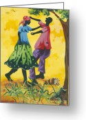 Haitian Greeting Cards - Dancing Couple Greeting Card by Herold Alvares