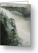 Island Greeting Cards - Deception Pass Fog Greeting Card by Perry Woodfin