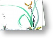 Sumi Greeting Cards - Delicate Orchid Greeting Card by Casey Shannon