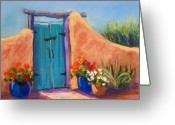 Blue Flowers Pastels Greeting Cards - Desert Gate Greeting Card by Candy Mayer