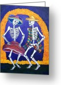 Calaveras Greeting Cards - Dia de los Muertos Greeting Card by Candy Mayer